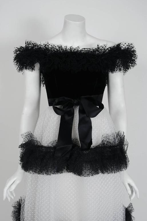 1968 Givenchy Haute-Couture Black & White Sequin Tulle Off-Shoulder Formal Gown 2