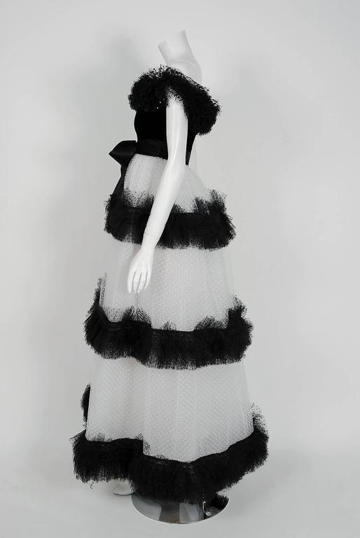 1968 Givenchy Haute-Couture Black & White Sequin Tulle Off-Shoulder Formal Gown 4