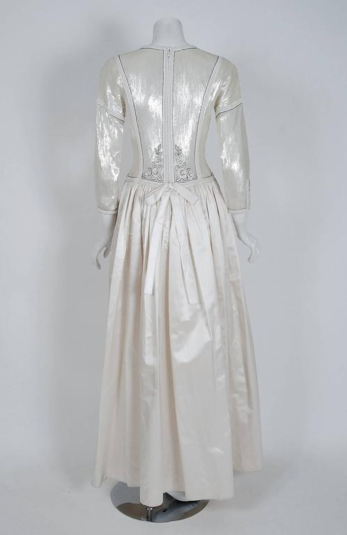 1985 Karl Lagerfeld for Chanel Haute-Couture Lesage Beaded Ivory Silk Gown For Sale 1