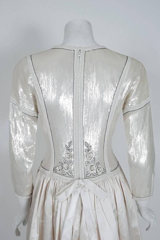 1985 Karl Lagerfeld for Chanel Haute-Couture Lesage Beaded Ivory Silk Gown For Sale 2