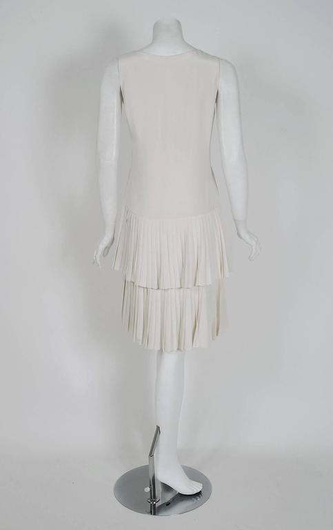 1980 Christian Dior Haute-Couture Ivory White Silk Pleated Drop-Waist Dress  For Sale 1
