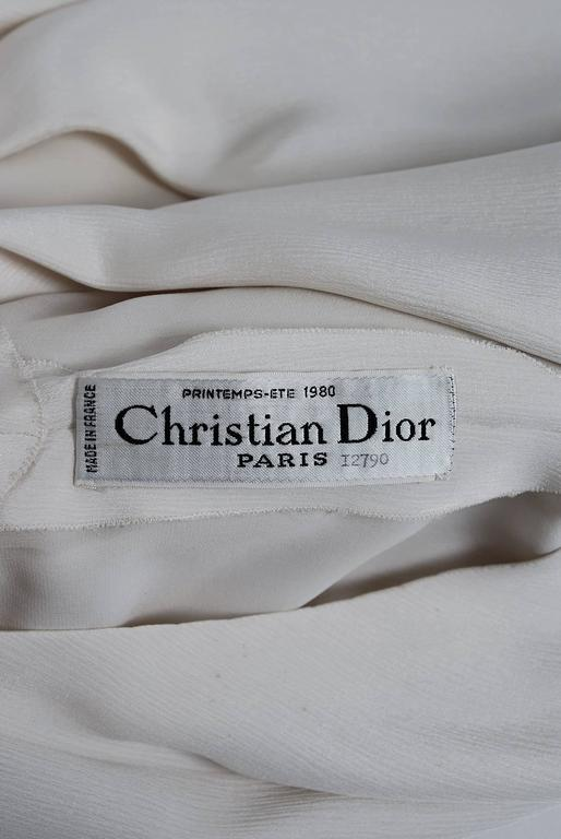 1980 Christian Dior Haute-Couture Ivory White Silk Pleated Drop-Waist Dress  For Sale 2