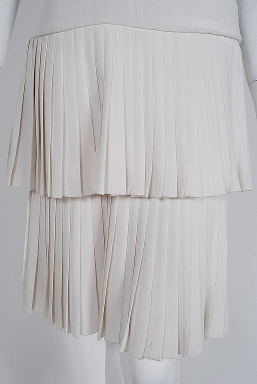 Women's 1980 Christian Dior Haute-Couture Ivory White Silk Pleated Drop-Waist Dress  For Sale