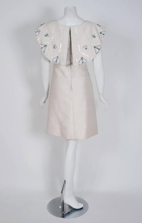 Women's 1960's Mr. Blackwell Ivory-Silk Beaded Rhinestone Shawl-Collar Mod Party Dress For Sale