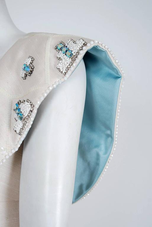 Gray 1960's Mr. Blackwell Ivory-Silk Beaded Rhinestone Shawl-Collar Mod Party Dress For Sale