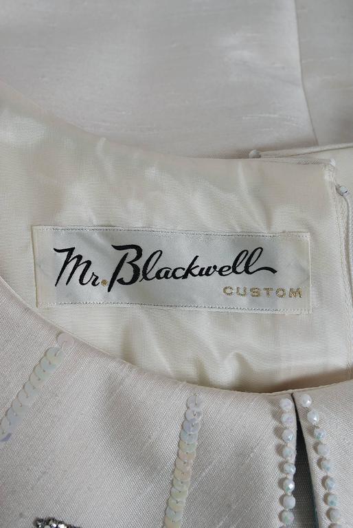 1960's Mr. Blackwell Ivory-Silk Beaded Rhinestone Shawl-Collar Mod Party Dress For Sale 2