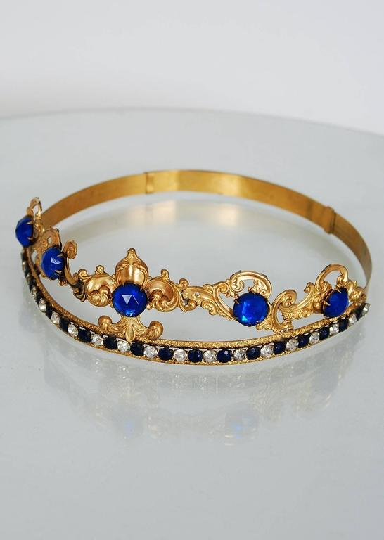 1920's French Fleur-De-Lis Blue Jeweled Gold Brass Deco Flapper Tiara Headpiece For Sale 2