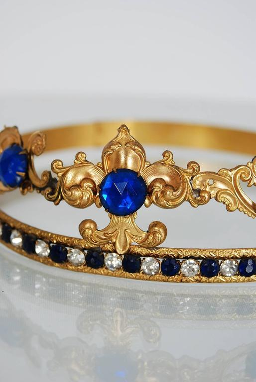 1920's French Fleur-De-Lis Blue Jeweled Gold Brass Deco Flapper Tiara Headpiece For Sale 1
