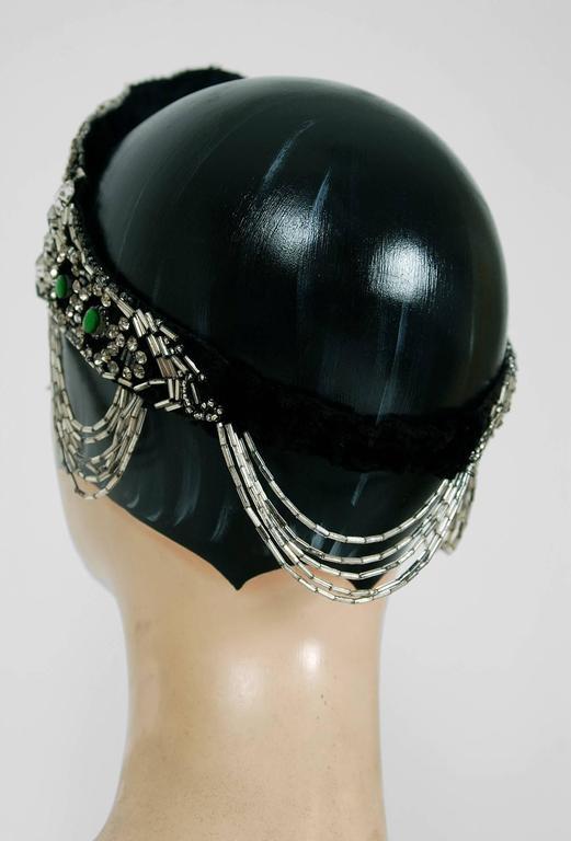 1920's Opulent Green-Jeweled Beaded Rhinestone Flapper Fringe Deco Headpiece  6
