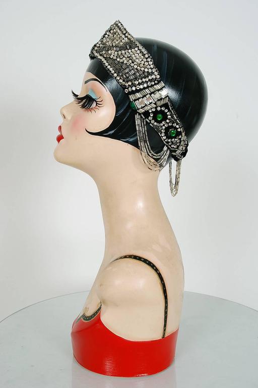 Black 1920's Opulent Green-Jeweled Beaded Rhinestone Flapper Fringe Deco Headpiece  For Sale
