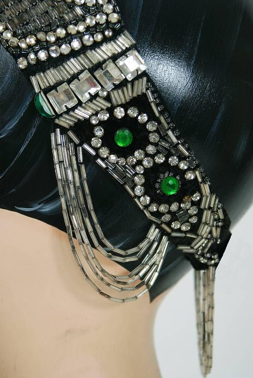 1920's Opulent Green-Jeweled Beaded Rhinestone Flapper Fringe Deco Headpiece  In Excellent Condition For Sale In Beverly Hills, CA