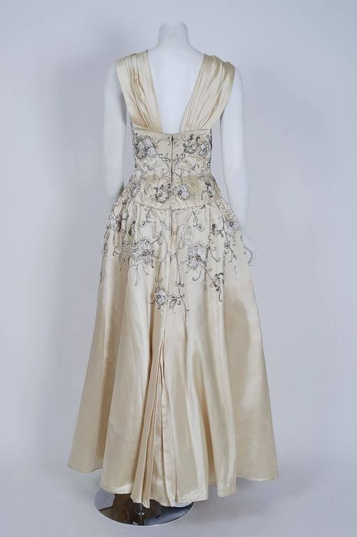 Vintage 1955 Pierre Balmain Couture Ivory Beaded Embroidered Silk Bridal Gown For Sale 1