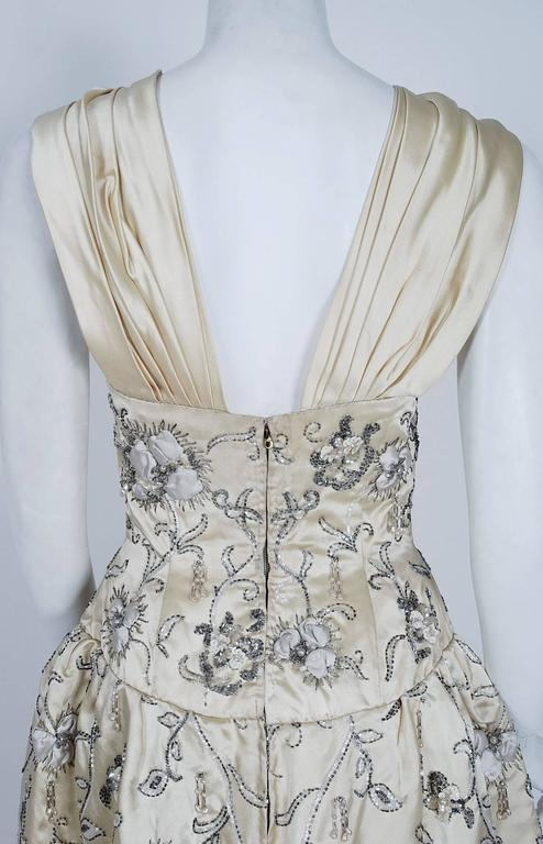 Vintage 1955 Pierre Balmain Couture Ivory Beaded Embroidered Silk Bridal Gown For Sale 2