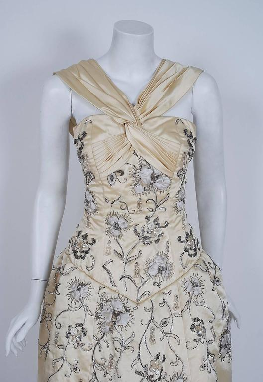 Gray Vintage 1955 Pierre Balmain Couture Ivory Beaded Embroidered Silk Bridal Gown For Sale