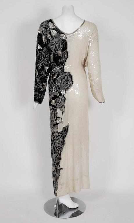 Vintage 1977 Halston Couture Beaded Sequin Rose-Garden Silk Dolman Sleeve Gown For Sale 1