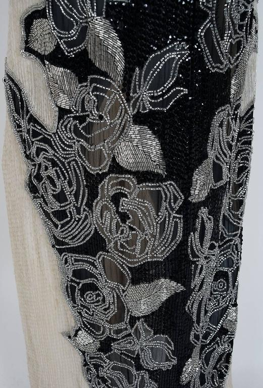 Vintage 1977 Halston Couture Beaded Sequin Rose-Garden Silk Dolman Sleeve Gown In Good Condition For Sale In Beverly Hills, CA