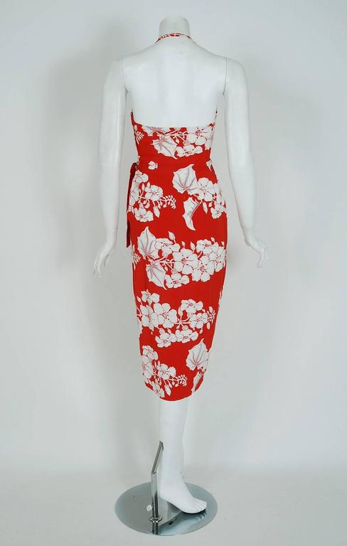 1940's Kamehameha Hawaiian Red & White Tropical Floral Rayon Halter Dress Set  6