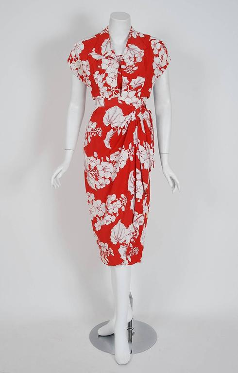 1940's Kamehameha Hawaiian Red & White Tropical Floral Rayon Halter Dress Set  4