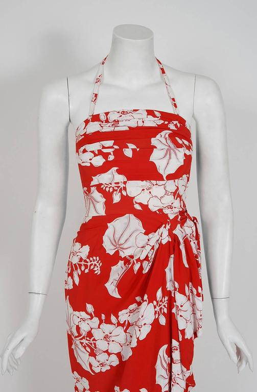 1940's Kamehameha Hawaiian Red & White Tropical Floral Rayon Halter Dress Set  2