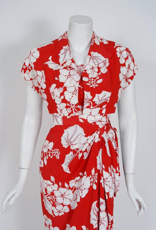 1940's Kamehameha Hawaiian Red & White Tropical Floral Rayon Halter Dress Set  5