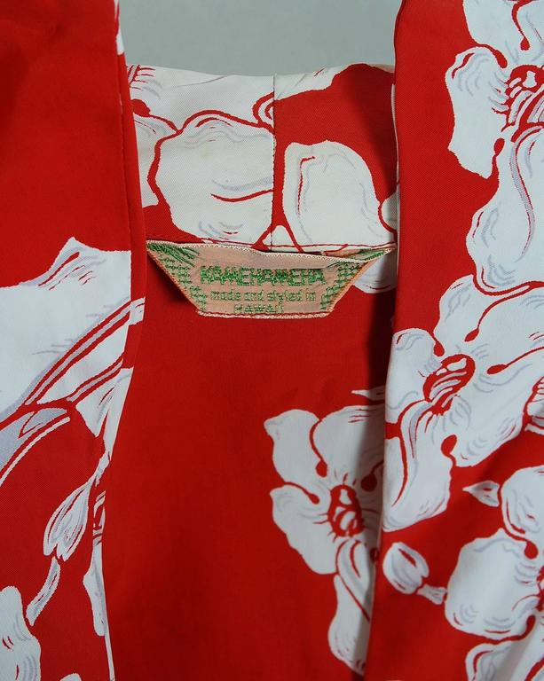 1940's Kamehameha Hawaiian Red & White Tropical Floral Rayon Halter Dress Set  7
