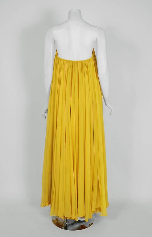 1950's Estevez Ruched Yellow Silk-Chiffon Strapless Trained Hourglass Gown  5