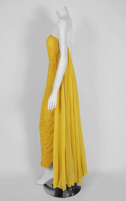 1950's Estevez Ruched Yellow Silk-Chiffon Strapless Trained Hourglass Gown  4