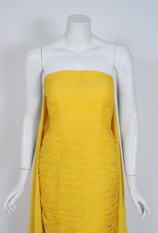 1950's Estevez Ruched Yellow Silk-Chiffon Strapless Trained Hourglass Gown  2