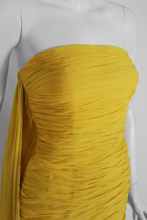 1950's Estevez Ruched Yellow Silk-Chiffon Strapless Trained Hourglass Gown  3