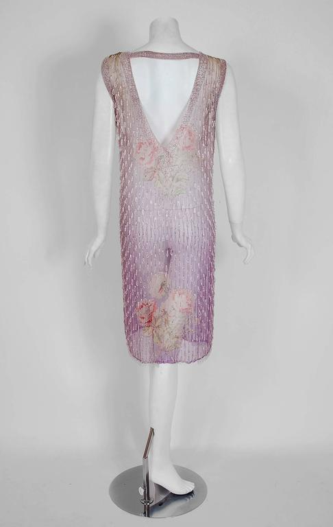 1920's Watercolor Roses Floral Garden Beaded Purple Silk-Chiffon Flapper Dress 6