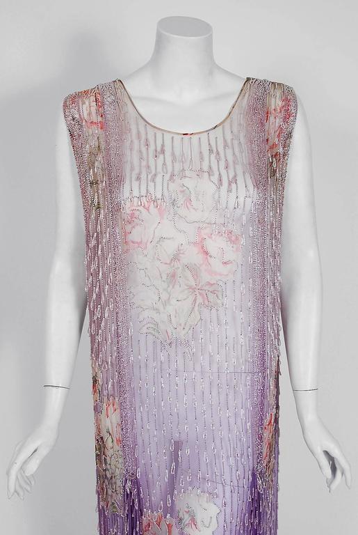 1920's Watercolor Roses Floral Garden Beaded Purple Silk-Chiffon Flapper Dress 2