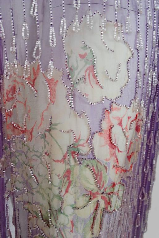 1920's Watercolor Roses Floral Garden Beaded Purple Silk-Chiffon Flapper Dress 3