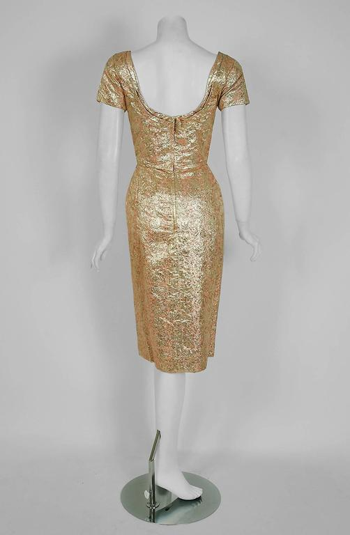 Women's 1950's Ceil Chapman Metallic-Gold Lame Ruched Hourglass Cocktail Dress w/Tags For Sale