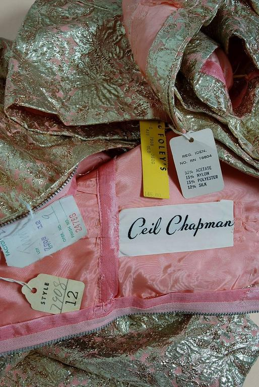1950's Ceil Chapman Metallic-Gold Lame Ruched Hourglass Cocktail Dress w/Tags For Sale 1