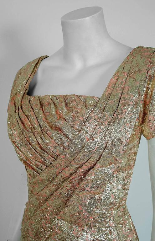 Brown 1950's Ceil Chapman Metallic-Gold Lame Ruched Hourglass Cocktail Dress w/Tags For Sale
