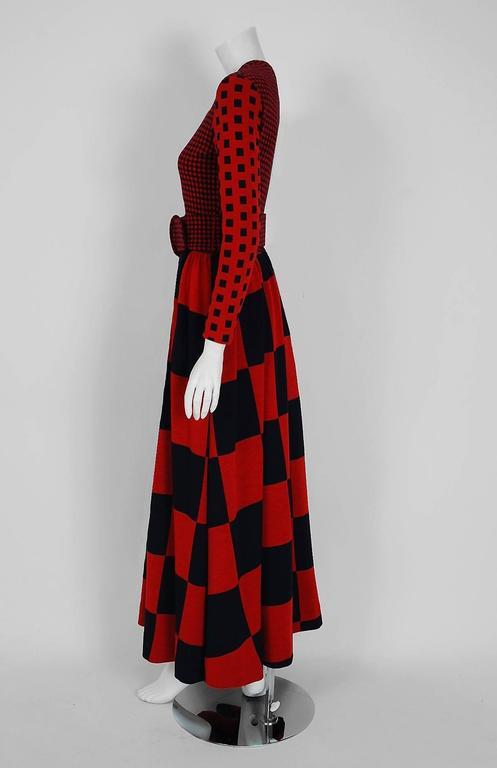 1971 Rudi Gernreich Red & Black Op-Art Checkered Wool Knit Belted Maxi Dress  4