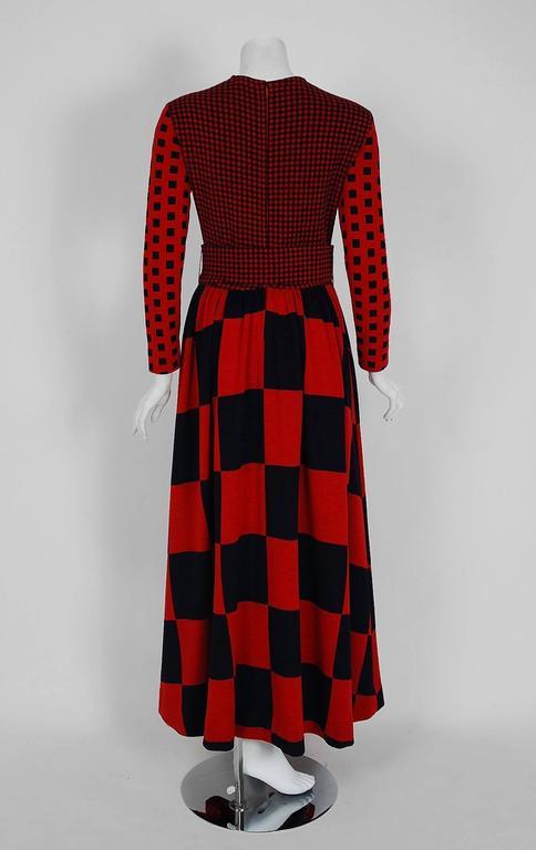 1971 Rudi Gernreich Red & Black Op-Art Checkered Wool Knit Belted Maxi Dress  5