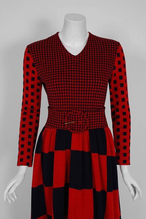 1971 Rudi Gernreich Red & Black Op-Art Checkered Wool Knit Belted Maxi Dress  2