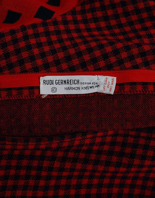 1971 Rudi Gernreich Red & Black Op-Art Checkered Wool Knit Belted Maxi Dress  For Sale 2