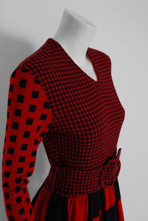 1971 Rudi Gernreich Red & Black Op-Art Checkered Wool Knit Belted Maxi Dress  3