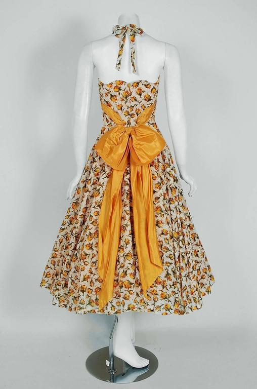1950's Lilli Diamond Yellow-Roses Floral Textured Cotton Halter Back-Bow Dress For Sale 1