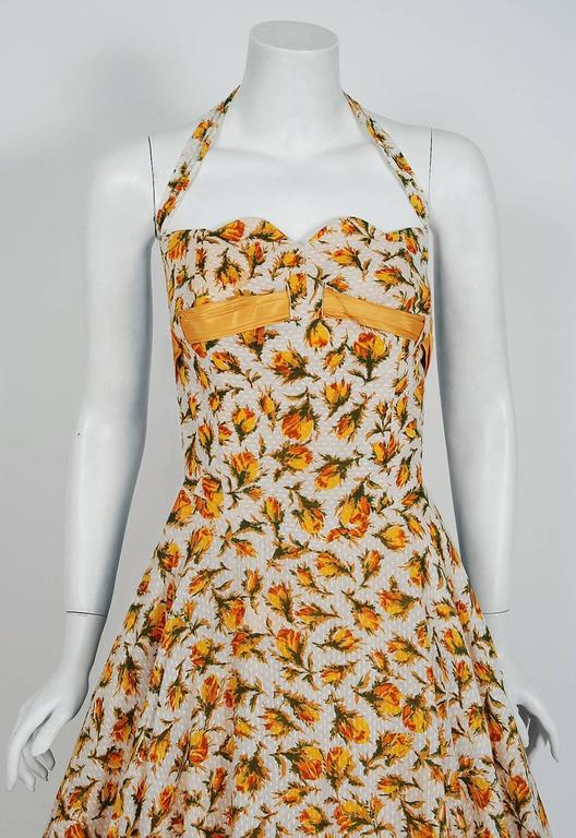 Beige 1950's Lilli Diamond Yellow-Roses Floral Textured Cotton Halter Back-Bow Dress For Sale
