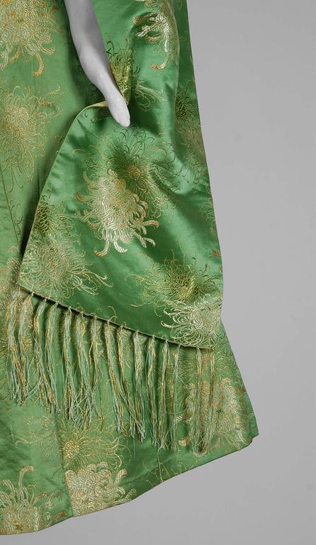 1950 S Sage Green Metallic Floral Silk Strapless Full