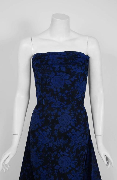 1950's Elizabeth Arden Couture Blue-Roses Lace Strapless Hourglass Trained Gown 3