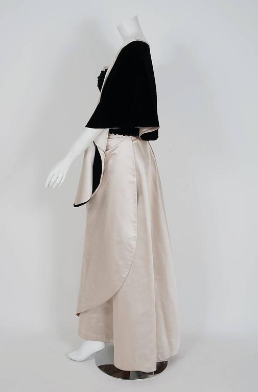 1950's Howard Shoup Couture Black Velvet & Ivory Satin Strapless Gown & Shawl 5