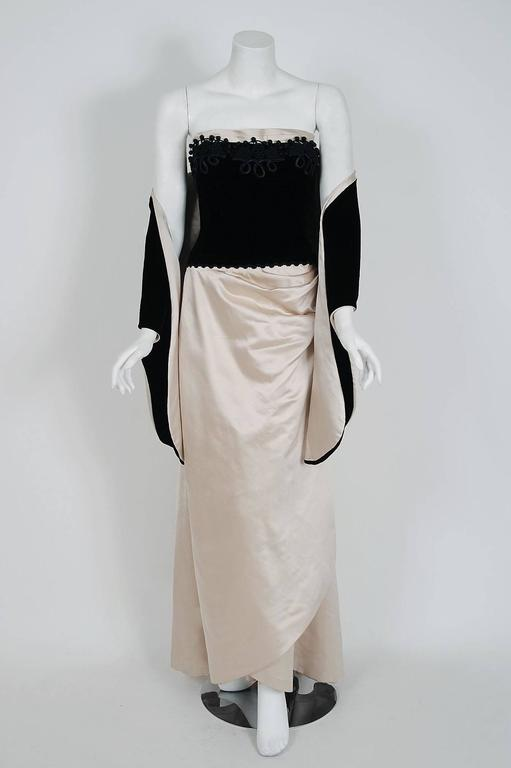 1950's Howard Shoup Couture Black Velvet & Ivory Satin Strapless Gown & Shawl 2