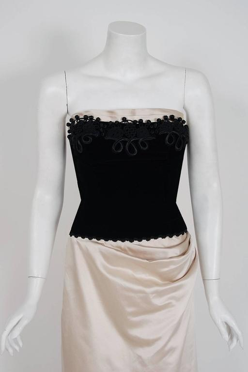 1950's Howard Shoup Couture Black Velvet & Ivory Satin Strapless Gown & Shawl 3