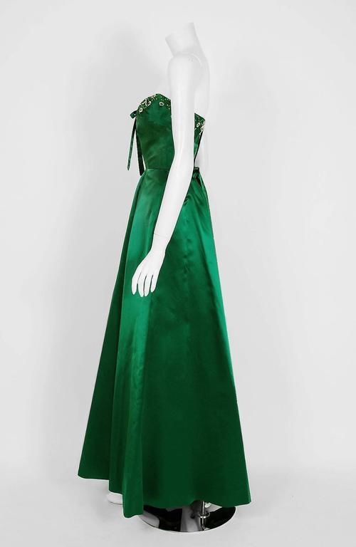 1950's Helga Emerald-Green Beaded Satin Strapless Bombshell Evening Formal Gown 3