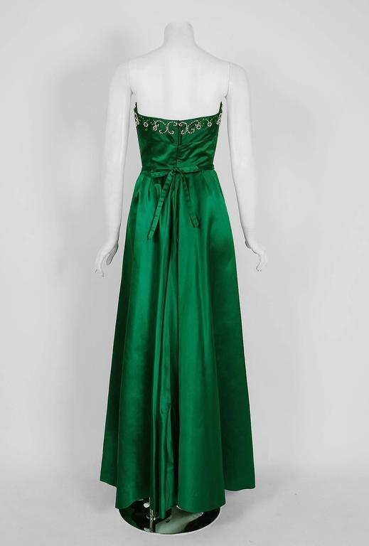 1950's Helga Emerald-Green Beaded Satin Strapless Bombshell Evening Formal Gown 5