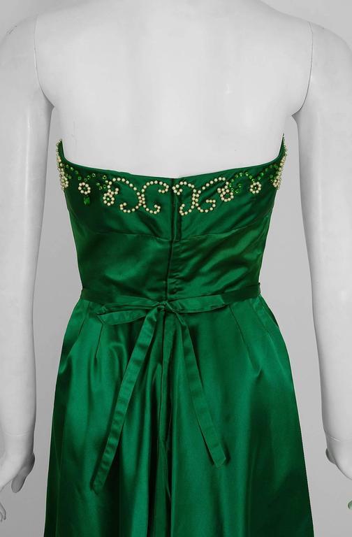 1950's Helga Emerald-Green Beaded Satin Strapless Bombshell Evening Formal Gown 4